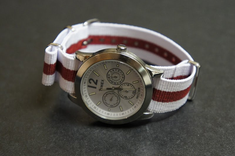 White Red Stripe 20mm James Bond  Nato Nylon Watch Strap