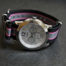 Black Pink Gray Stripe 20mm James Bond Nato Nylon Watch Strap
