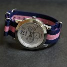 Blue and Pink Stripe 18mm James Bond  Nato Nylon Watch Strap