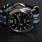 Black Blue Orange 24mm 4 Ring Zulu Nylon Watch Strap Band