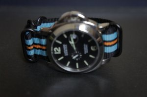 Black Blue Orange 24mm PVD 5 Ring Zulu Nylon Watch Strap Band