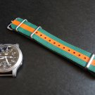 Green and Orange Stripe 20mm Nato Nylon Watch Strap