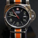 Black White and Orange Stripe 20mm James Bond Nato Nylon Watch Strap