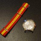 Red Yellow Stripe Spain 20mm James Bond Nato Nylon Watch Strap