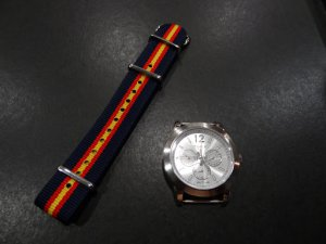 Navy Red Yellow Stripe 20mm James Bond Nato Nylon Watch Strap