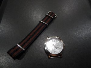 Black Coffee Stripe 20mm James Bond Nato Nylon Watch Strap