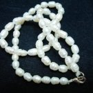 Natural Fresh Water pearl Gemstone Necklace oval strand