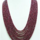 10strand Natural Red Ruby Gemstone Beads Necklace