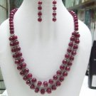 STUNNING NATURAL GEMSTONE RUBY 9 -11mm  NECKLACE SILVER