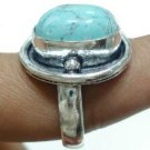 6.91Gms Handcrafted Turquoise Gemstone & Silver Ring