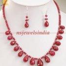 Single strand natural ruby gemstone beads & drop string