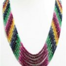 Colombian Emerald Ruby Sapphire Strand Beaded Necklace~