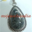 13.68gm Designer natural agate gemstone  silver pendant