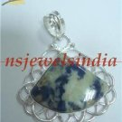 10.83gms Handcrafted agate gemstone silver pendant