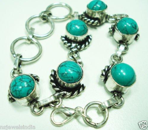 23.74 gm Stunning Turquise gemstone silver bracelet