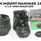 HANIMEX NIKON MOUNT 28mm f/2.8 MC WIDE ANGLE LENS