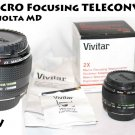 NEW Vivitar 2x Macro Focusing Teleconverter MD w/caps, case