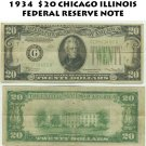 20$ 1934 FEDERAL RESERVE NOTE - BANK OF CHICAGO