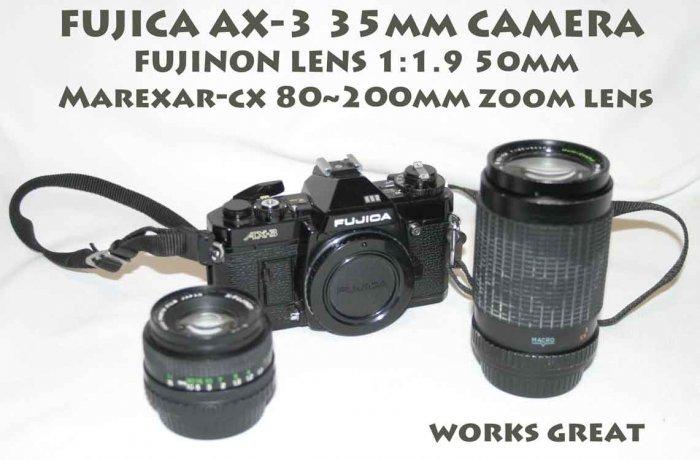 !SOLD!  FUJICA AX-3 35mm CAMERA  FUJINON LENS 1:1.9 50mm Marexar-cx 80~200mm zoom lens