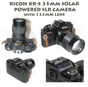 RICOH XR-S 35MM SOLAR POWERED SLR CAMERA With 135mm Sears 2.8 lens