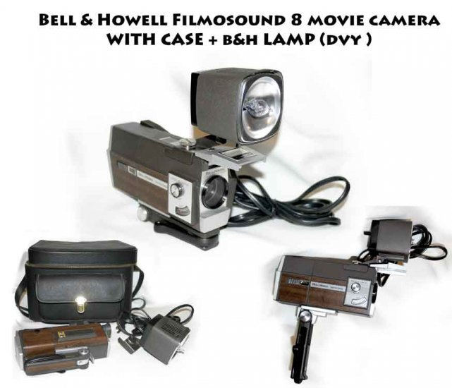 !SOLD! Bell & Howell Filmosound 8 movie camera  case and lamp