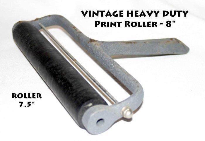 """Vintage Heavy Duty 8"""" Heavy Duty Print Roller, hard rubber"""