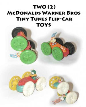 TWO (2) McDonalds Warner Bros Tiny Tunes Flip-Car =