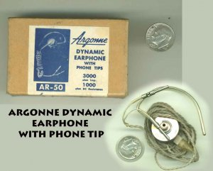 !SOLD!  VINTAGE ARGONNE DYNAMIC EARPHONE WITH PHONE TIPS