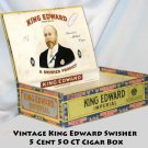 VINTAGE KING EDWARD SWISHER 5 CENT 50 CT CIGAR BOX -