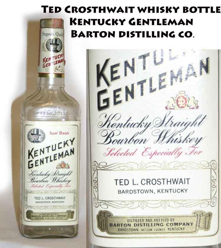 !SOLD! Ted Crosthwait whisky bottle Kentucky Gentleman Barton distilling co. -