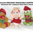 McDonalds HOLIDAY HUGGABLE MUPPET BABY Complete Set 3 Kermit Miss Piggy Fozzie