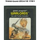Warlords Atari 2600 Video Game CX2610 1981