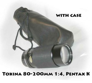 Lens RMC Tokina 80-200mm 1:4, Pentax K mount with case and caps