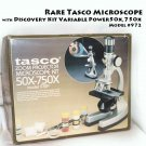 Rare Tasco Microscope with Discovery Kit Variable Power 50x,750x Model #972