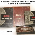4  USED RECORDING TAPE  REEL TO REEL  4 600'  & 1 300' SCOTCH