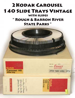 "2 Kodak Carousel 140 Slide Tray Vintage with slides "" Rough & Barron River State Parks """