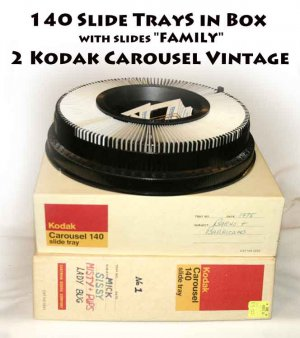 "2 Kodak Carousel  140 Slide Tray in Box Vintage with slides ""FAMILY"""
