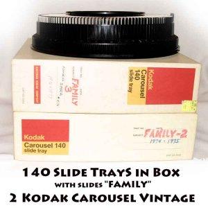 "2 Kodak Carousel 140 Slide Tray in Box Vintage with slides ""FAMILY"""