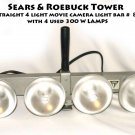 "Sears & Roebuck Tower 15"" straight 4 light movie camera light bar #  8811 with 4 used 300 W LAMPS"