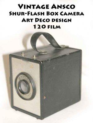 Vintage Ansco Shur-Flash Box Camera Art Deco design 120 film