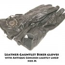 Leather Gauntlet Biker gloves with Antique Conchos lightly lined size M