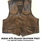 Mens ATL Black Leather Vest 46 EXCELLENT Condition Motorcycle/Western