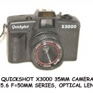 QUICKSHOT X3000 35MM CAMERA. 1:5.6 F=50MM SERIES, OPTICAL LENS.