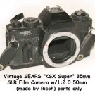 "Vintage SEARS ""KSX Super"" 35mm SLR Film Camera w/1:2.0 50mm  (made by Ricoh) parts or display"