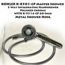 KOHLER K-8501-CP Master Shower 3-Way  Handshower, Polished Chrome & K-9514-CP 60-Inch Metal  Hose