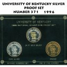 UNIVERSITY OF KENTUCKY NATIONAL CHAMPIONS  SILVER PROOF SET NUMBER 371 1996