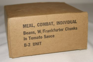Meal, Combat, Individual: Beans, W/Frankfurter Chunks in Tomato Sauce  B-2 UNIT