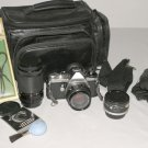 Pentax Asahi ME 35mm SLR Film Camera, 50mm lens, 2X extender, case, filter and more