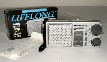LIFELONG PORTABLE AM FM RADIO #845-LCD ALARM CLOCK-ORIGINAL BOX W/INSTRUCTIONS