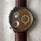CC-BT CLASSIC-BRN-SS  Curtis & Co Big Time Classic 54mm 3-Time Stainless Steel Brown Watch  NO BOX